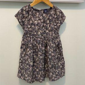 Gap Girls Gray Floral Corduroy Dress (size 4T)